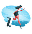 woman with baggage vector image