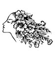 womans head in flowers vector image vector image