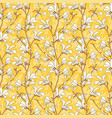 Yellow floral background with branch and white
