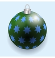 Green and blue stars Christmas ball reflecting vector image