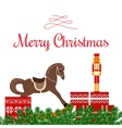 Christmas greetings with toys and gifts vector image