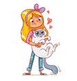 girl hugging the kitten funny cartoon character vector image