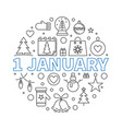 1 january new year concept outline vector image vector image