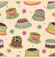 41 color cake seamless pattern vector image vector image