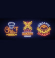 bakery collection logos in neon style vector image vector image