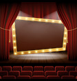 banner with light bulbs on the stage of the cinema vector image vector image