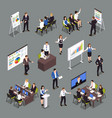 business coaching isometric icons set vector image vector image