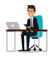 businessman working in computer vector image