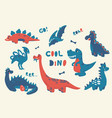 cartoon dinosaur cute doodle baby dino isolated vector image
