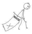 cartoon of sad businessman trailing big paper vector image vector image