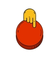 cartoon style hand push a red button vector image vector image