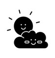 children cartoons black glyph icon childish toons vector image vector image