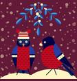 christmas birds scene with mistletoe and bullfinch vector image vector image