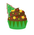 christmas cupcake with green spruce gingerbread vector image