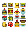 color lunch box outline icon big set vector image vector image