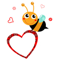 Cute beautiful Bee with blank heart vector image vector image