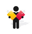 figure man holds vinyl colorful tags with the vector image