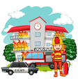 Fire scene with fireman at the building vector image vector image