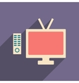 Flat with shadow icon and mobile applacation tv vector image vector image