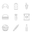 floury icons set outline style vector image vector image