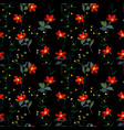 garden botanical red flowers seamless pattern vector image vector image