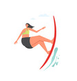 girl surfing wave flat style design vector image