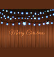 glowing garland set on wood background vector image vector image