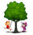 halloween kids costumes play under the tree vector image vector image