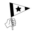 hand holding flag with star vector image