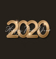 happy new year banner with gold 2020 numbers vector image vector image