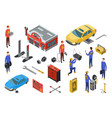 isometric auto service car service top view vector image
