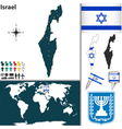 Israel map world vector image vector image