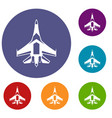 jet fighter plane icons set vector image vector image