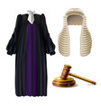 judge formal dress and gavel realistic vector image