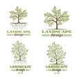 Landscape design company emblems Tree with roots vector image vector image