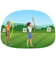 man and woman standing with bows and aiming to the vector image vector image