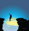 man walking on tightrope vector image