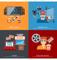 Movie Flat Concepts Set vector image