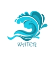 Ocean wave emblem with curly elements vector image vector image