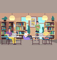 people in library young students men and vector image vector image