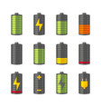 phone or smartphone battery icons with various vector image