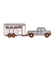 pickup horse trailer vector image
