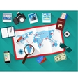 planning trip concept at table with paper map of vector image vector image