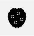 puzzle pieces silhouette brain jigsaw puzzle brain vector image vector image