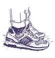 retro sneakers hand drawn vector image vector image
