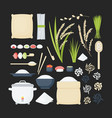 rice flat big icon set vector image