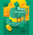 saint patricks day festive banner with green 3d vector image