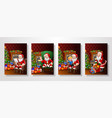 santa claus in living room collections set vector image