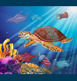 sea turtle and plastic bags in ocean vector image