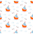 seamless pattern cute sailboat isolated vector image vector image